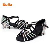 Black White Rhinestone Child Girls Performance Dance Shoes Kids Latin Tango Jazz Dance Shoes Low Heel 3.5cm Waltz Ballroom Shoes