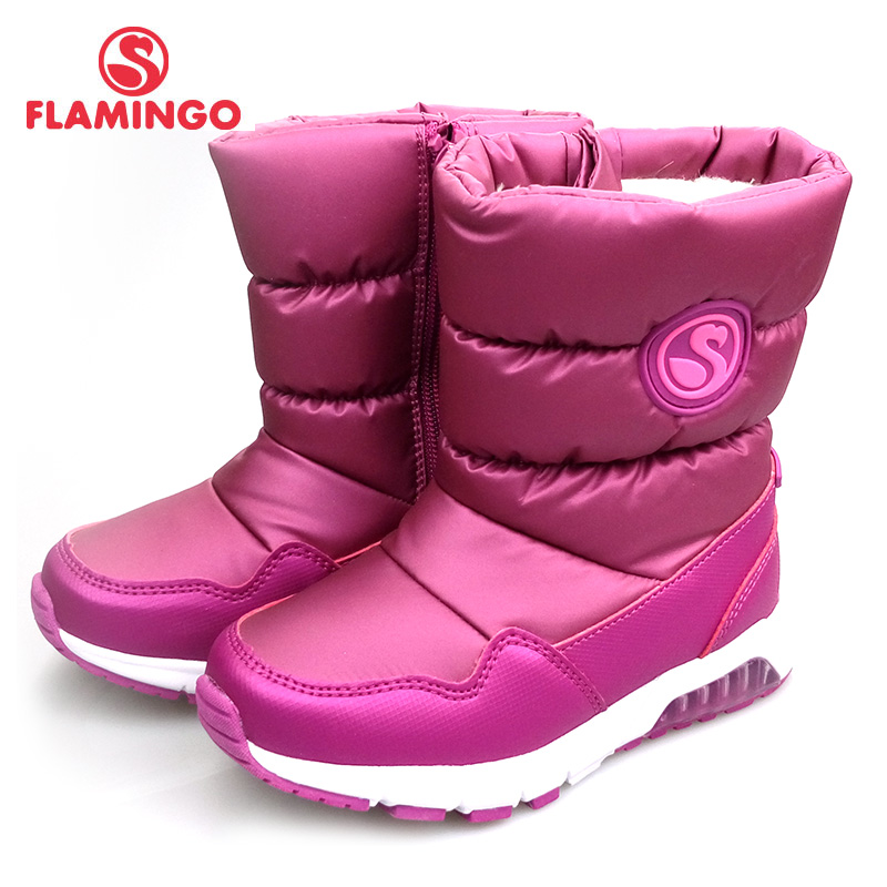 FLAMINGO Brand Winter Wool Keep Warm Shoes Anti-slip Hook& Loop Children High Quality Size 28-33 Snow Boots for Girl 82D-NQ-103 gsou snow brand winter ski suit men ski jacket pants waterproof snowboard sets outdoor skiing snowboarding snow suit sport coat