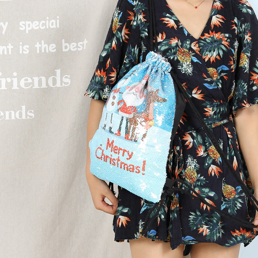 New Cartoon Women Unicorn Backpacks Mermaid Sequins Drawstring Bag Christmas Backpack Children School Beach Travel Shopping Bag #5