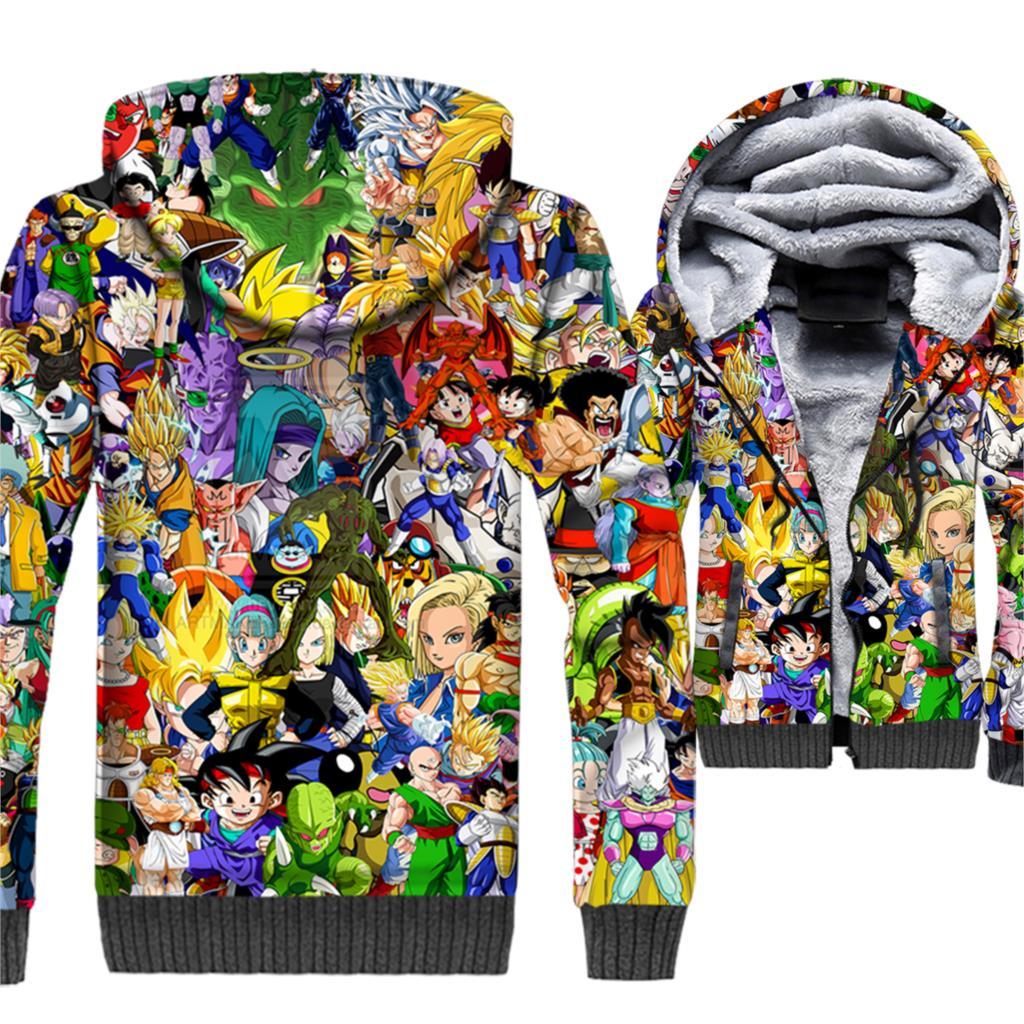 Dragon Ball 3D Imprimé À Capuche Hommes Anime Super Saiyan Sweat Ninja Vegeta Manteau Polaire Veste Maître Roshi Harajuku Sportswear