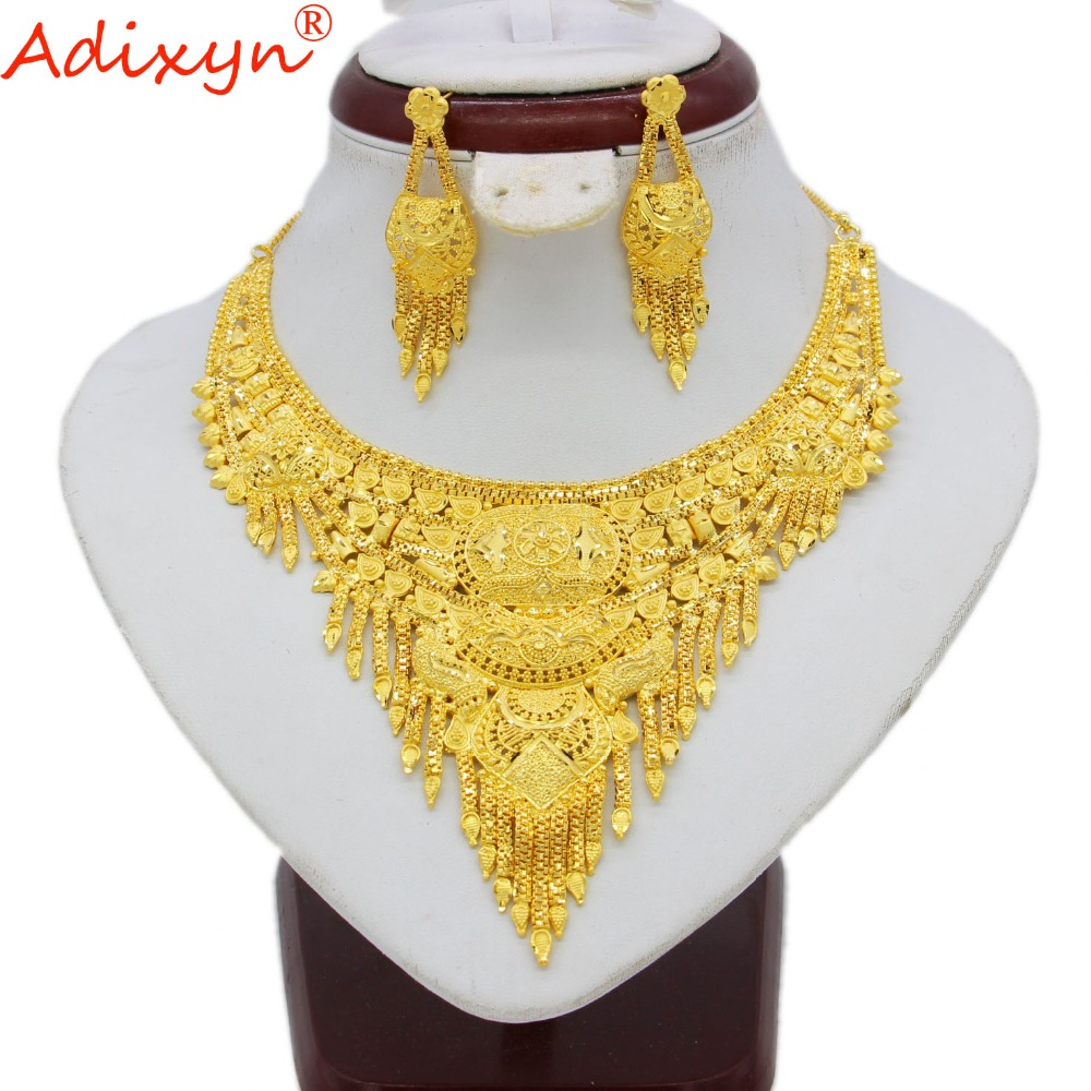 купить Adixyn India Necklace/Earrings Jewelry set For Women/GirlsGold Color/Copper African/Ethiopian Engagement Gifts N060514 недорого