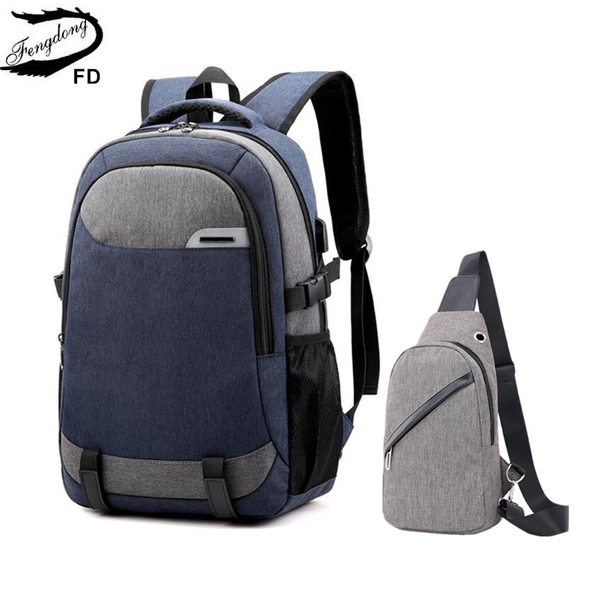 Fengdong Big School Bags For Teenagers Boys Waterproof Large School Backpack Usb Charge Boy Sling Chest Bag Set Reflective Strip