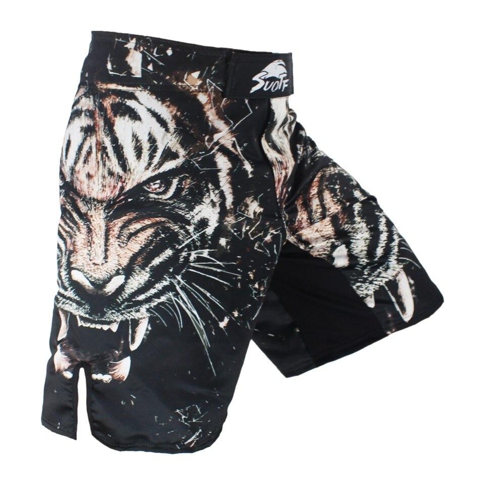 SUOTF Noir Tigre de Combat Tête Dominateur Fitness Respirant Shorts de boxe vêtements Tiger Muay Thai shorts mma fight shorts
