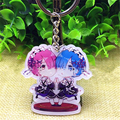 [PCMOS] 2017 Nova Anime Re: Zero Hajimeru kara Isekai Seikatsu Ram & Rem Chave Keychain Anéis Charme Frete Grátis 16071305