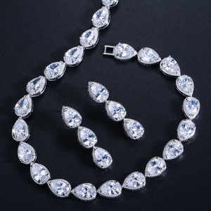 Image 4 - CWWZircons Stunning Pear Cut CZ Zirconia Stone Women Fashion Wedding Party Earrings Necklace Jewelry Sets T019