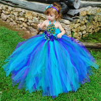 Elegant Peacock Costume for Girls Princess Dress Kids Ankle Length Sleeveless Party Dress Christmas Halloween Cosplay Tutu Dress