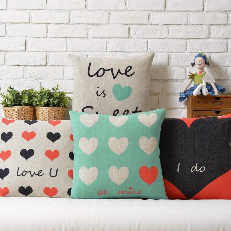 LOVE  Couple Models  Wedding Heart-shaped Gift Linen Pillow  Cushion  Square Pillowcases Home Decor Sofa Cushions