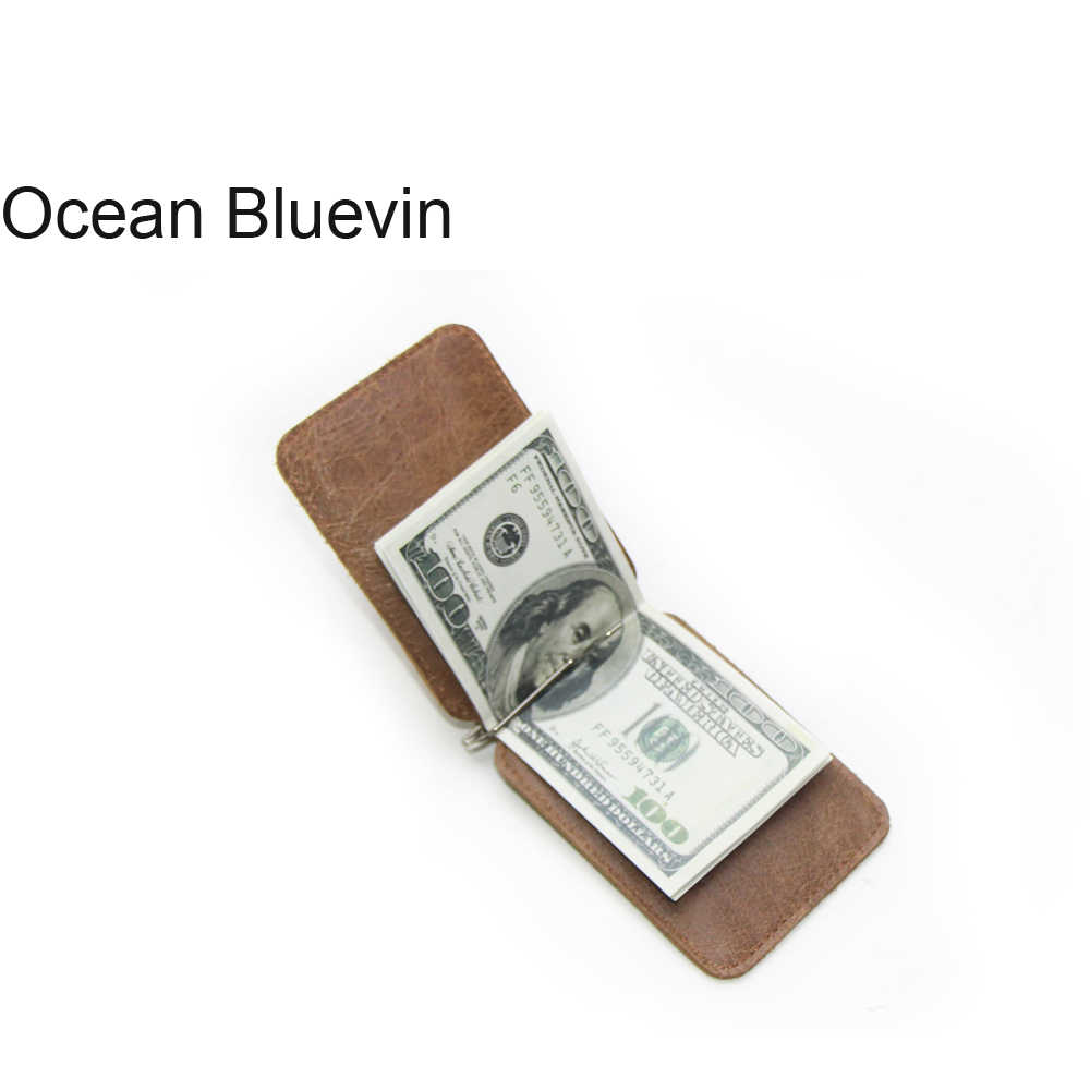 OCEAN BLUEVIN Leather Card Bag European And American Popular Card Package Vintage Top Layer Leather US Gold Clip