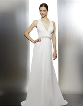 2014 amanda novias Chiffon straps criss-cross A-line halter neckline assortment beading natural waist wedding gown bridal dress