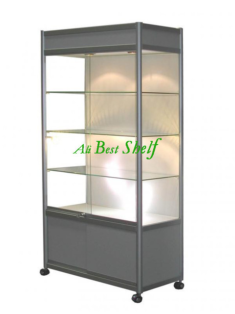 All Silver Glass Display Cabinet With Wheels And Lights, Lockable Showcase Display  Case