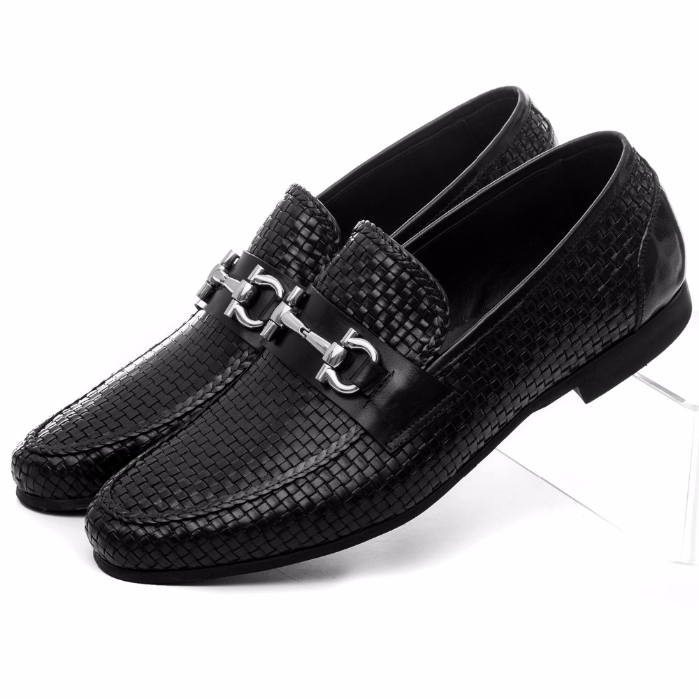 Large size EUR46 woven design black summer loafers shoes genuine leather mens casual shoes with buckle star pattern footless tights