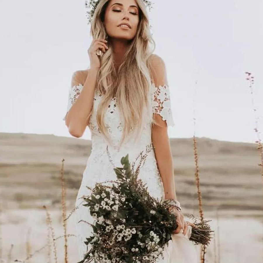 Elegant Boho Lace Wedding Dresses Country Style Off The Shoulder