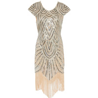 Vintage Sequin Fringe Shining Woman Dress 1920s Flapper Dress Great Gatsby Charleston Evening Party New Dress