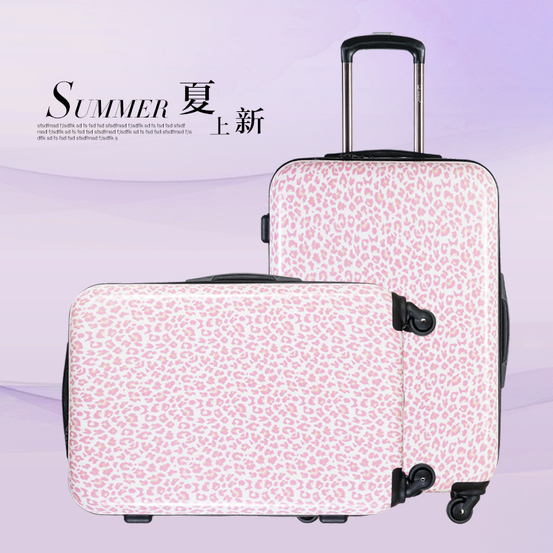 20 2428ABS Pink leopard grain luggage suitcase Multi Wheel carry-on cabin travel trolley case rolling luggage suitcase wheels