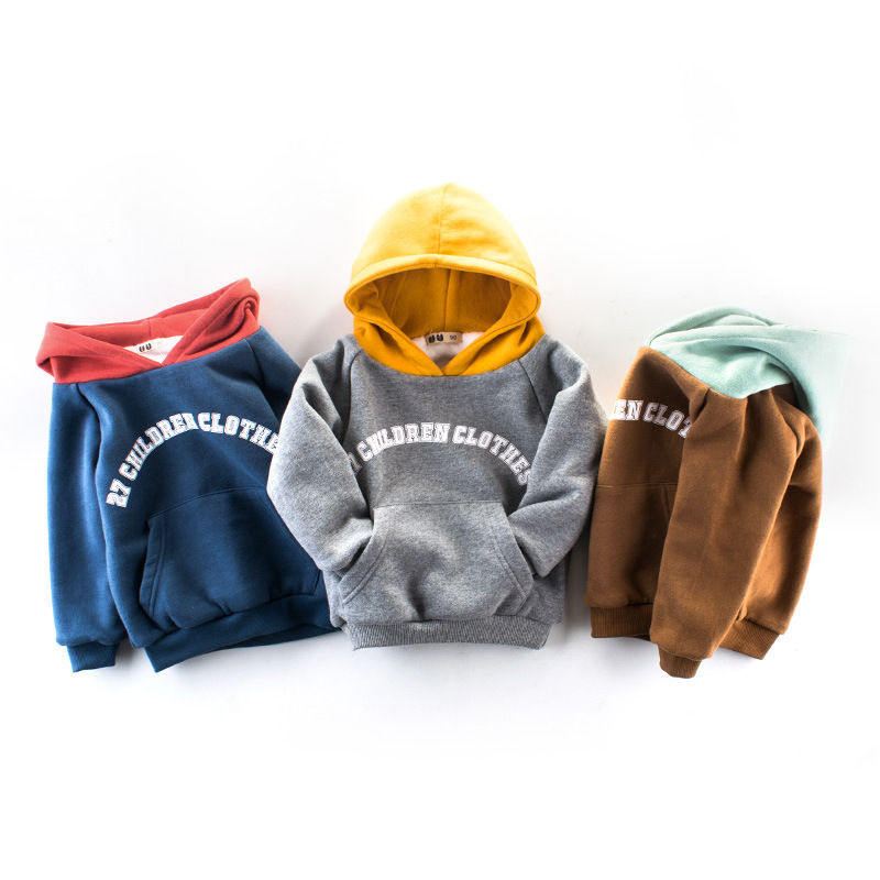 Children's clothing autumn and winter new double thick hooded sweater boys hoodies sports shirt baby girl T-shirt clothes Hoodie curved hem hooded space dye t shirt