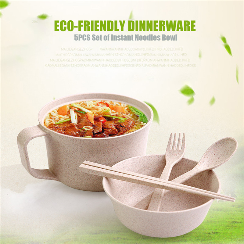 Creative Eco-Friendly Dinnerware Unbreakable Wheat Tableware RL202M Wheat Cup Bowl Wheat Straw Bowls Student Instant Noodles Bow