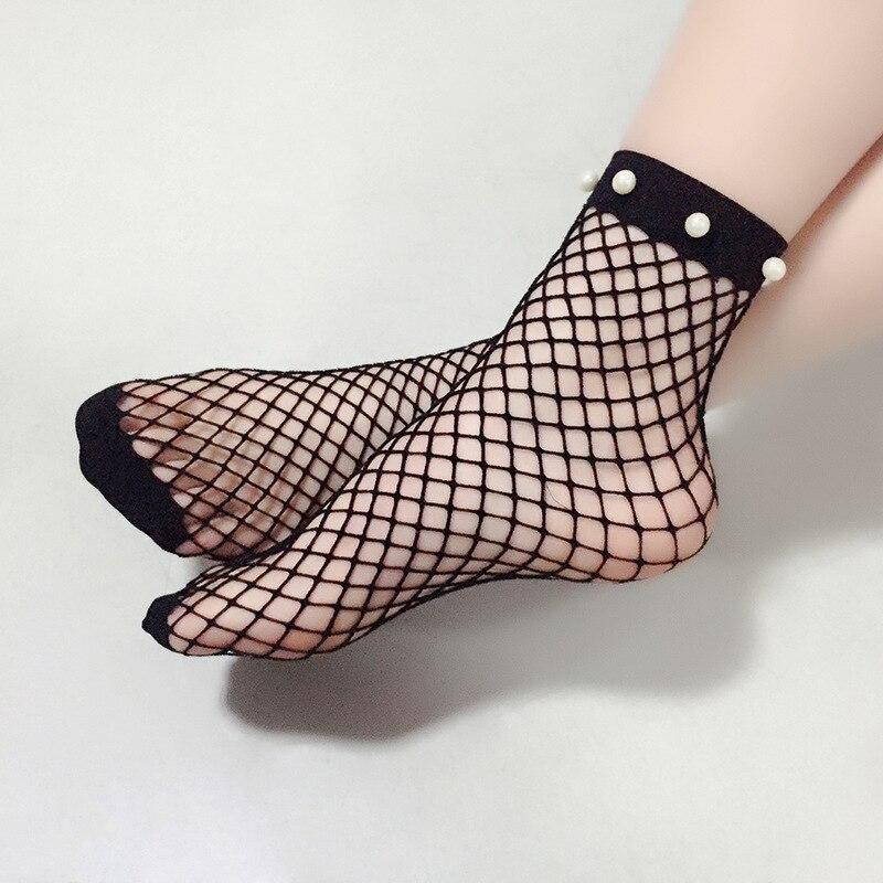 1 Pcs women girls fishnet socks black mesh ankle sock Pearl Beads decos Short style ladies girls christmas gift 2017 new fashion