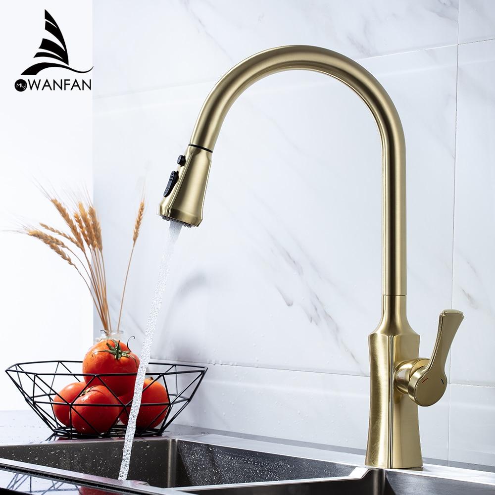 Kitchen Faucets Brushed Gold Torneira Para Cozinha De Parede Crane For Kitchen Water Mixer Tap Black
