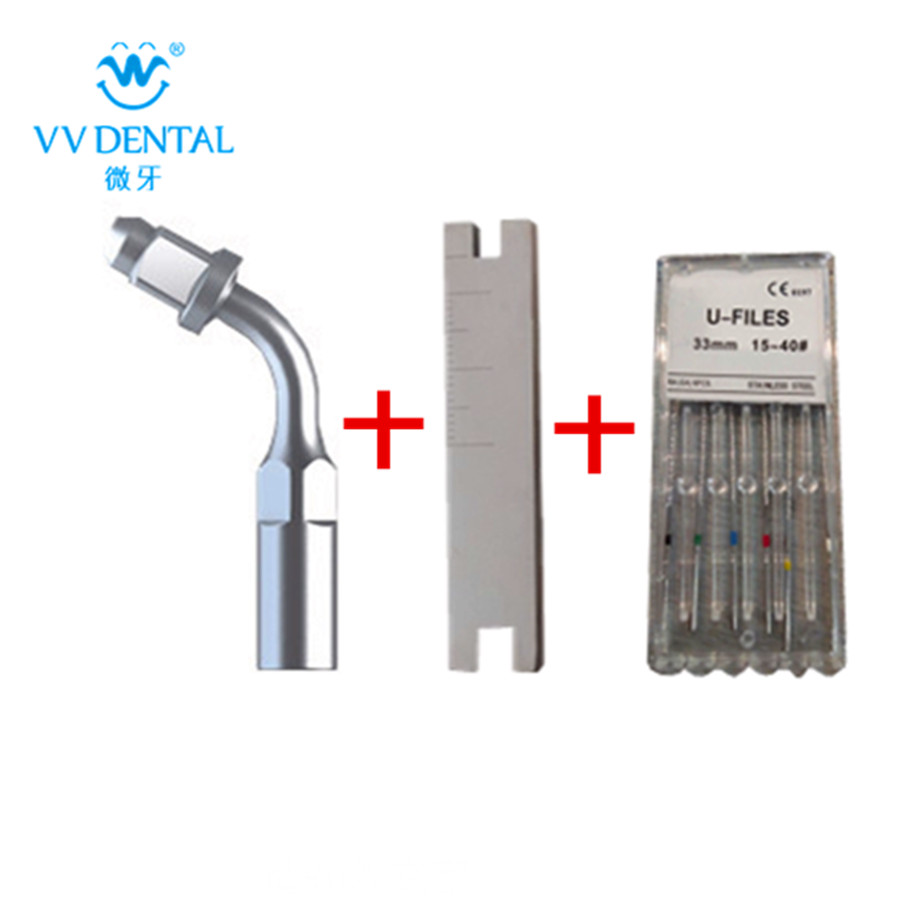 Scaler tip E1/scaler U-file/metal wrench scaler key fit for woodpecker/EMS dental equipment use for anterior teeth endodontics 1set dental piezo ultrasonic scaler unit built in dental scaler with led lights for woodpecker ems dentist chair teeth cleaning