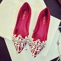 2016 весна новая мода Женская обувь перл diamond свадебные туфли красные свадебные туфли Женщины квартиры Большой размер 34-40