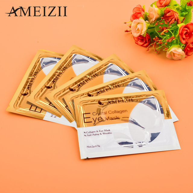 AMEIZII 2Pcs=1Pair 24K Gold Crystal Collagen Eye Mask Eye Patches For Eye Care Dark Circles Remove Anti-Aging Wrinkle Skin Care 5