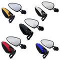 "Universal 7/8"" CNC Aluminum Motorcycle Bar End Mirror+Straight Stem Gold/Silver/Black/Red/Blue Lining For Hollow Handlebar"