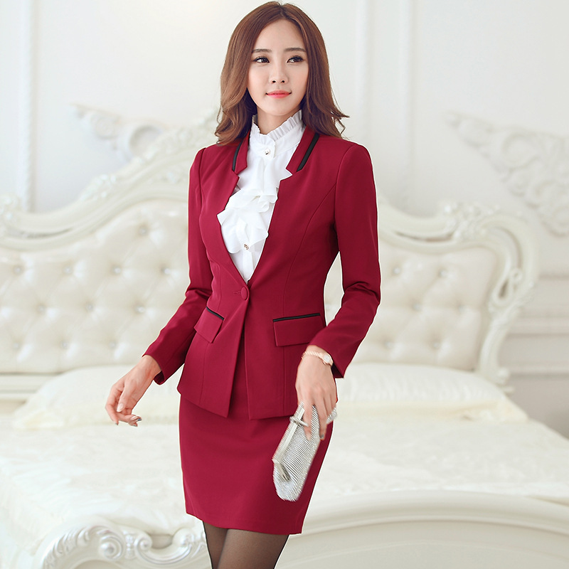 Formal red Blazer Women Skirt Suits Jacket Sets Office Ladies Business Suits Work Wear Clothes OL Style Custom made