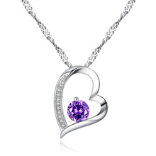 Fashion Love Heart Pendant Crystal Necklace Plated Female Joker First Jewelry Wholesale