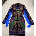 HIGH QUALITY Newest Fashion 2016 Runway Designer Dress Women's Long Sleeve Luxury Colorful Diamonds Beading Tassel Bodycon Dress