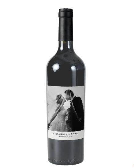 Aangepaste minimalistische look met uw bruiloft foto wijnetiket, wijnetiketten bruids douche, gepersonaliseerde bruidsmeisje wijnstickers
