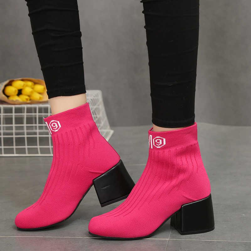 7560d7767 ... BENZELOR/2018 осенне-зимняя женская обувь с острым носком, женские  ботинки, носки ...