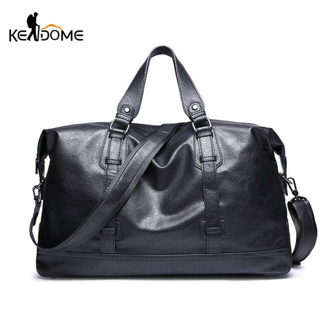 aa9d90f2b5 Men s Gymnastic Bag PU Leather Shoulder Sports Gym Bag Fitness Tote Handbag  Crossbody Bags Travel Duffel