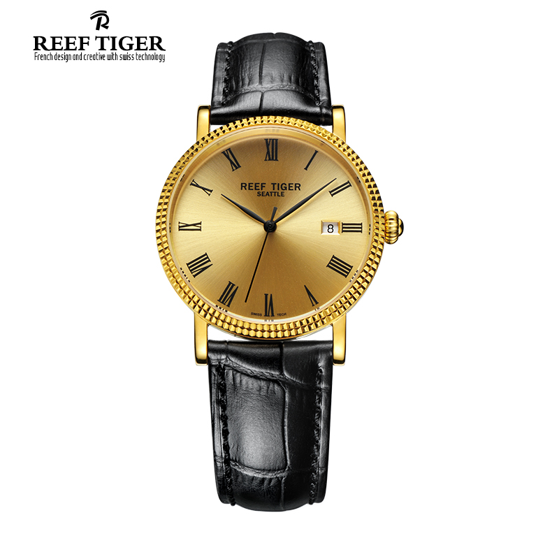 New 2017 Reef Tiger/RT Watches Business Yellow Gold With Date Watches Men Luxury Brands Automatic Designer Dress Watches RGA163 масло кунжутное первый холодный отжим sesame oil indian khadi