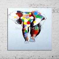 اليدوية مجردة النفط اللوحة الحيوان جدار الفن على قماش ل تزيين المنزل 1 قطعة شقي الطفل الفيل