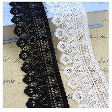 Wide 7cm White Black Lace Trim Ribbon Fabric High Quality Hollow Material Applique DIY Craft Dress Skirt Sewing Accessories