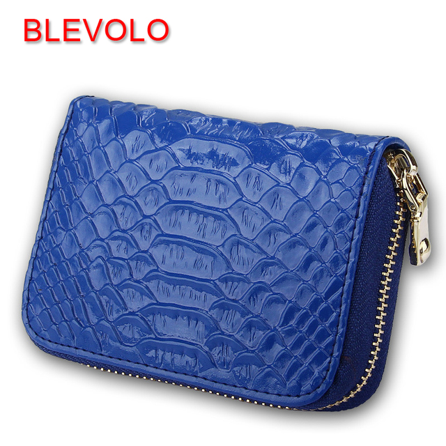4b5d589716b BLEVOLO Women Card Holder Genuine Leather Credit Card Package Wallet  Serpentine Lady Coin Purse Female Zipper ID Cards Case Bag