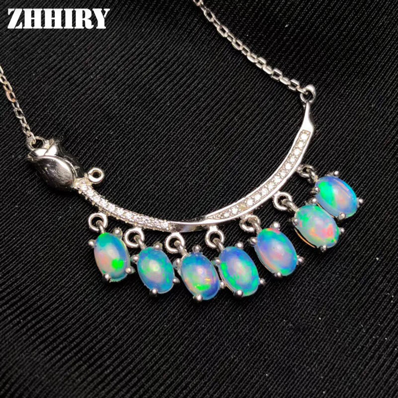 ZHHIRY Natural Blue Opal Pendant Necklaces Genuine 925 Sterling Silver For Women Gemstone Fine Jewelry