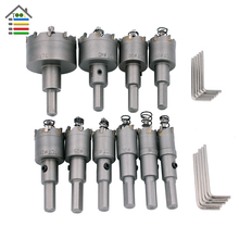10PCS Tungsten Carbide Tip TCT Drill Bit Hole Saw Set Stainless Steel Metal Drilling Alloy 16-50mm for Metalworking