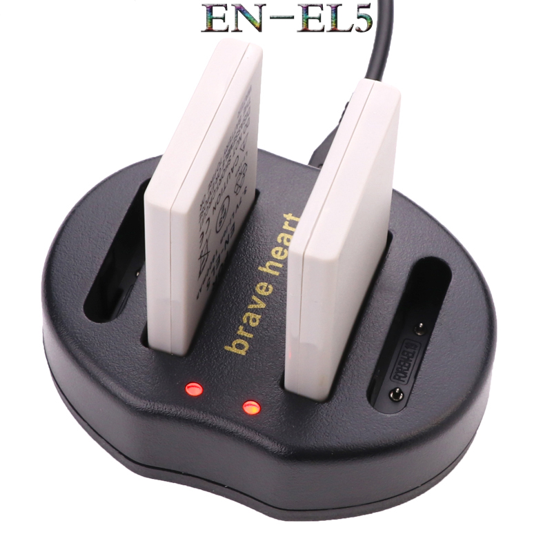Prix pour 2x Bateria EN EL5 EN-EL5 batterie + ENEL5 USB DOUBLE chargeur POUR NIKON COOLPIX P510 P530 3700 4200 5200 5900 S10 P4 P3 P520 P90