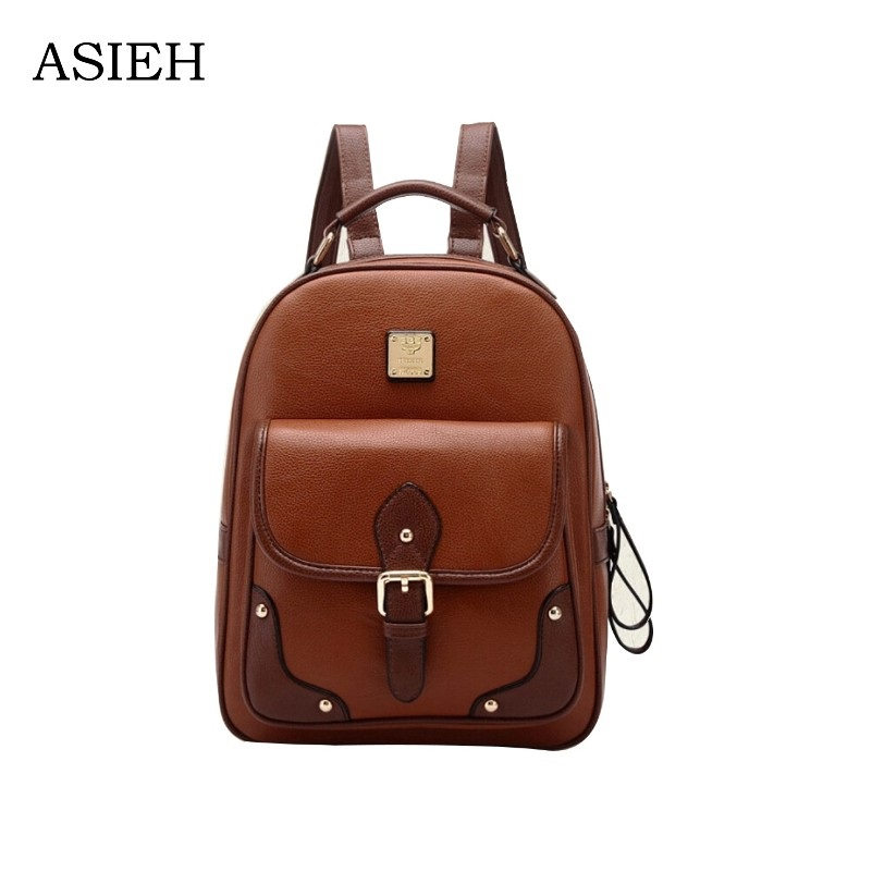2018 Hot! Woman leather backpack PU Fashion brown School Bags Girls High Quality Multi-use Bag Female Retro mochilas