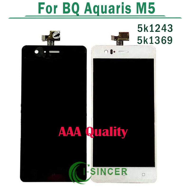 ФОТО AAA Quality Full LCD Display For BQ Aquaris M5 LCD With Touch Screen Digitzer Assembly White Black 5K1369 5K1243 Free Shipping