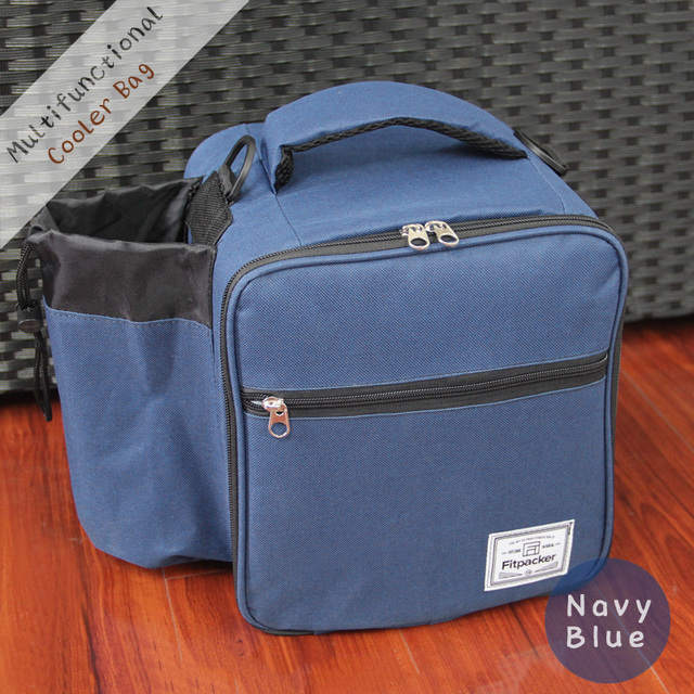 Outdoor Insulated Lunch Cooler Bag, Thermal Picnic Box with Adjustable Shoulder Straps