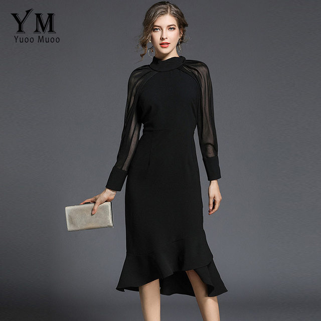 34a668ea81e3a US $23.77 30% OFF|YuooMuoo New Spring Elegant Long Sleeve Party Dress Women  High Neck Black Office Dress Slim Fashion Ladies Work Dress Vestidos-in ...