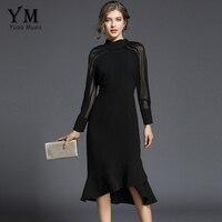 YuooMuoo New Spring Elegant Long Sleeve Party Dress Women High Neck Black Office Dress Slim Fashion