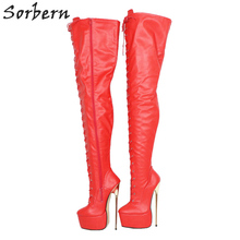 Sorbern vermelho matte meados da coxa botas para mulheres metal saltos altos personalizado comprimento do eixo largura grossa plataforma sapato bota longa senhoras grande