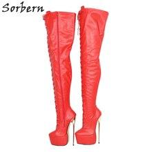 Sorbern 레드 매트 여성용 중반 허벅지 부츠 금속 하이힐 사용자 정의 샤프트 길이 너비 두꺼운 플랫폼 구두 롱 부츠 숙녀 빅