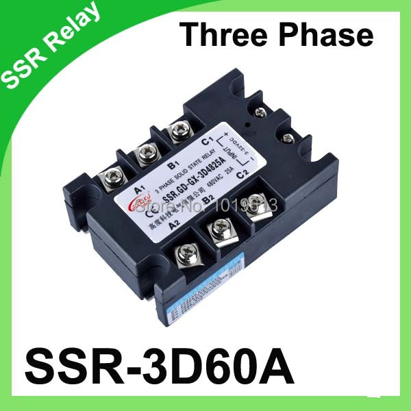 DC to AC 3 Phase Solid State Relay SSR 60A 3-32V DC 480V AC high quality ac ac 80 250v 24 380v 60a 4 screw terminal 1 phase solid state relay w heatsink