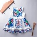 Vintage da moda Vestido Da Menina de Verão 2016 Azul E Branco Da Porcelana Floral Sem Mangas Crianças Vestidos para Meninas Roupas Por Atacado 8239