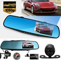 4.3Inch Car Camera Rearview Mirror Auto DVR Dual Lens Dash Cam Recorder Video Registrator Camcorder Full HD1080P Night Vision