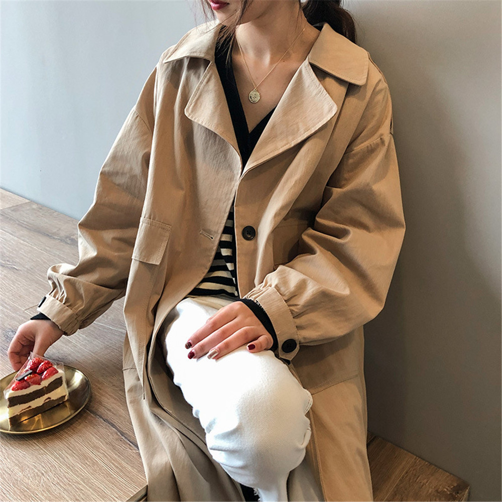 Vintage Cotton Women Coat 2019 Autumn Women's Casual Trench Coat oversize Single Breasted Washed Outwear Loose Clothing 68501 (13)